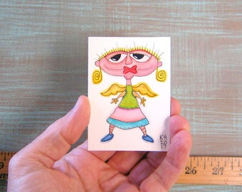 Angel-J62, Original Aceo Watercolor, Art Card, Miniature Painting, by Fig Jam Studio