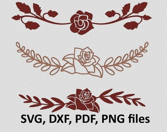 Rose SVG / Rose DXF / Rose Clipart / Rose Files, cutting, DXF, Rose vector, Rose shape, Rose silhouette, floral divider
