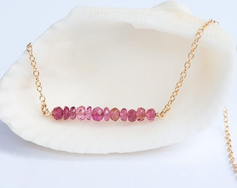 October Birthstone Bar Necklace, Pink Tourmaline Gemstone Necklace, Layer Necklace, Delicate Necklaces, Minimal Gemstone Necklace, Rose Gold