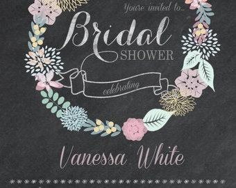 Printable Floral Garland Bridal Shower 5x7 Invitation - Print at home DIY