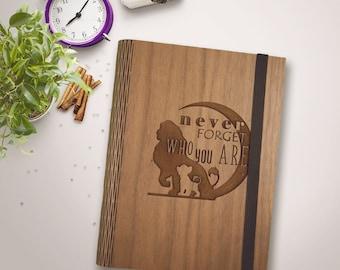 Handmade Living Hinge Wood Journal Sketchbook Blank Travel Bridal Gift Mother Disney Cartoon Daughter