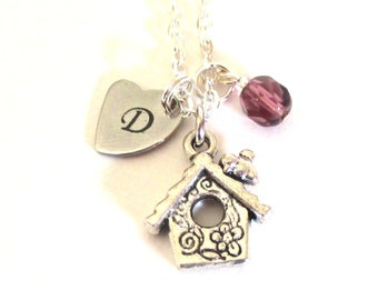 Personalised Birdhouse necklace - Initial necklace - Birthstone charm necklace - Birthday gift for mum, sister, friend, wife, - UK seller