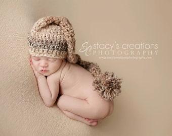 Crochet Striped Baby Stocking Hat, Newborn Elf Hat, Infant Long Tail Hat, Baby Boy Hat, Newborn Girl Hat, Earthy Colors, Browns