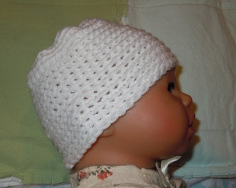 White premie-NB or doll size Hat