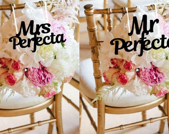 custom mr and mrs sign, mr and mrs, bride and groom chair sign