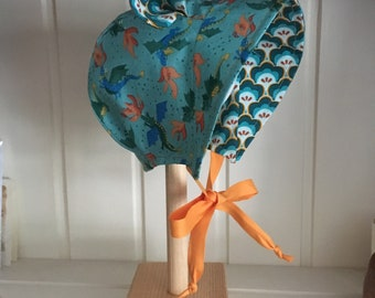 Firey Dragons, cotton sunhat, in size 0-6 months