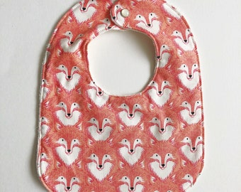 Coral Foxes Baby Bib with Organic Cotton