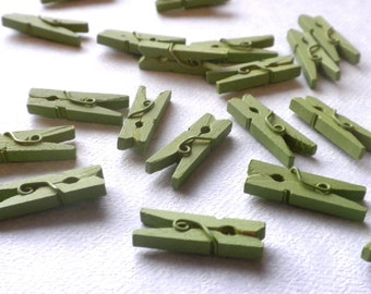 """Mini Clothespins in Green Apple - 25 - 1"""" or 2.5 cm - Wooden - Great for Scrapbooking Paper Crafts Party Favors and Baby Shower Favors"""