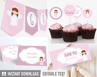 Pink Angel Baptism - Party Pack - Christening Party - First Communion - INSTANT DOWNLOAD - Printable PDF with Editable Text