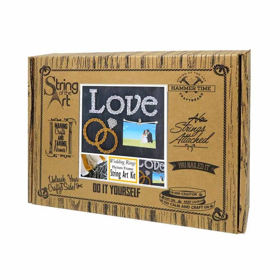 Diy string art kit picture frame love string art wedding rings 6495 solutioingenieria Images