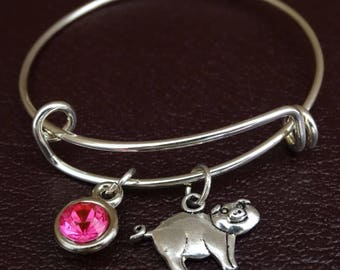Pig Bracelet, Pig Bangle, Pig Charm, Pig Pendant, Pig Jewelry, Pig Lover, Pig Lover Gift, Pig Gifts, Farmers Wife Gift, Farmers Daughter