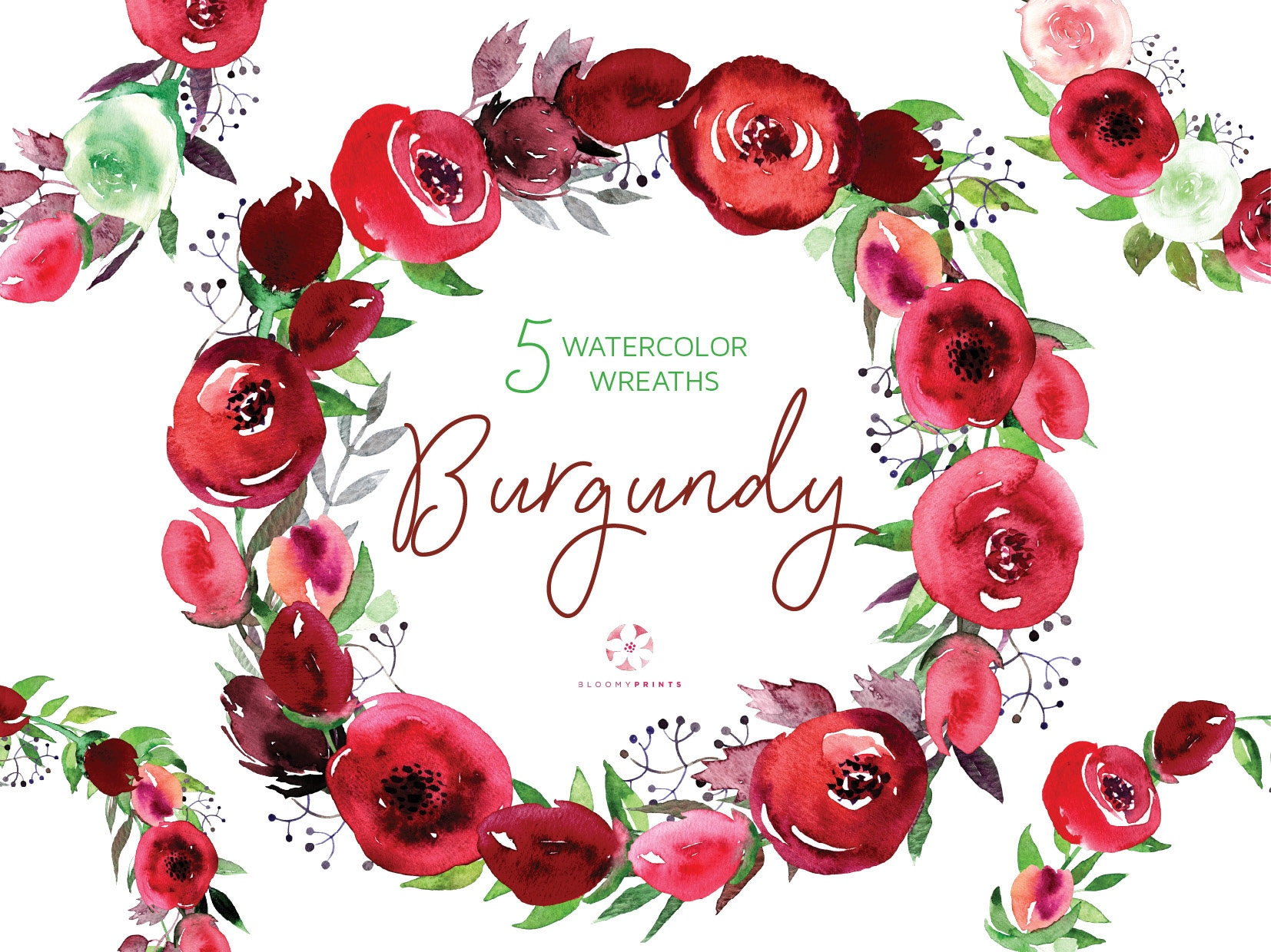 Watercolor Burgundy Wreath Clipart | Watercolour Bordo Roses wreaths ...