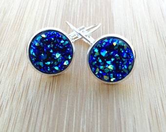 Druzy Earrings | Peacock Blue Faux Druzy | Sparkle Shiny Drop Earrings | Sparkly Dangle Earrings | Bridesmaids Bridal Wedding Jewelry