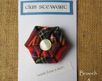 Royal Stewart Tartan Fabric Brooch with Mother of Pearl Centre