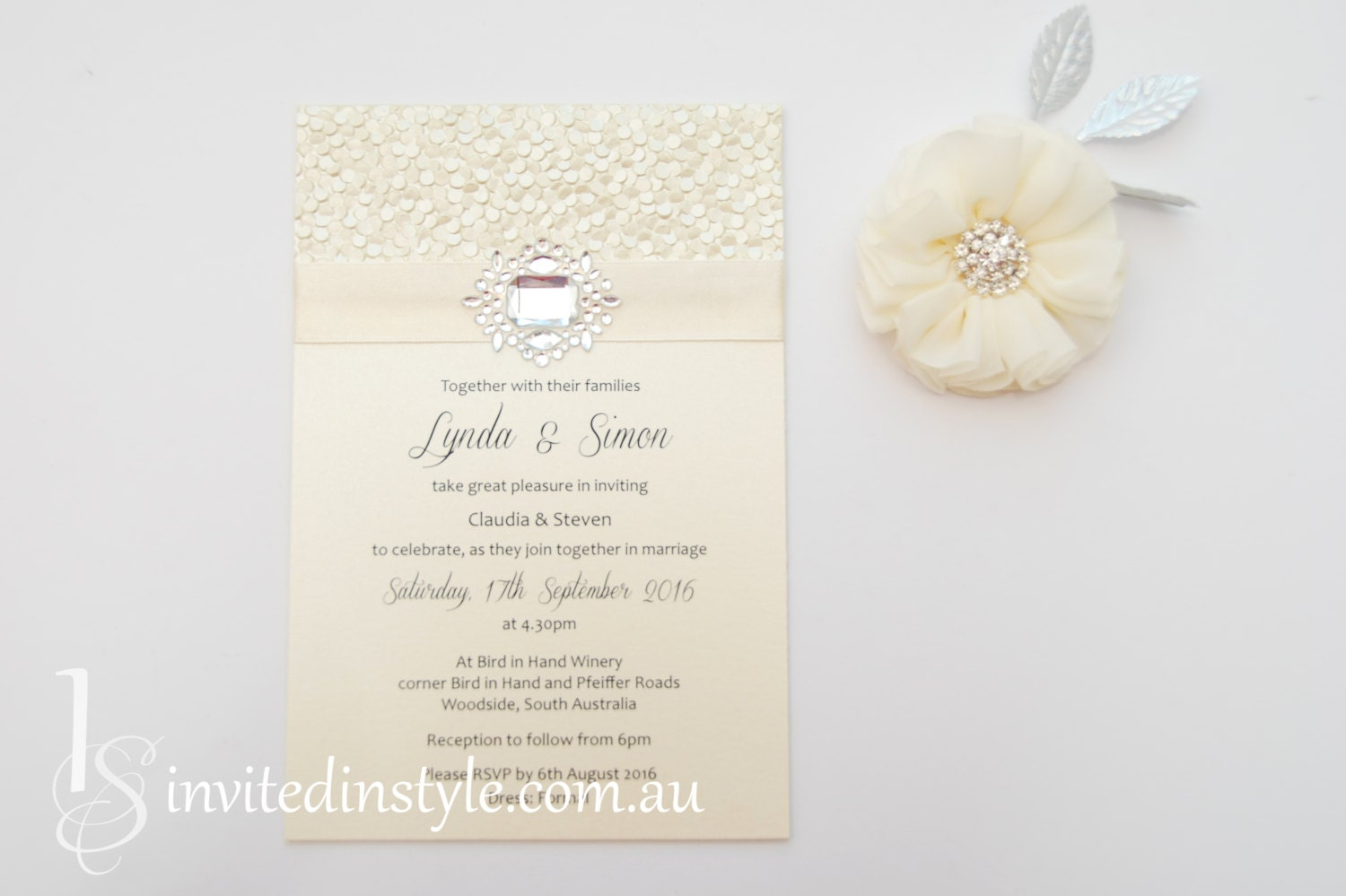 Embossed pebble paper all ivory flat invitation with satin