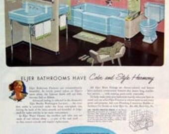 Eljer Magazine Print Ad 1952, Eljer Blue Tub, Eljer Blue Sink, Eljer Blue Stool, Stage Setting, Original Ad, Color Print, Ad,