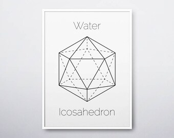 Icosahedron Print, Platonic Solids, Geometric Print, Sacred Geometry, Geometric Wall Art, Icosahedron, Modern Home Decor, INSTANT DOWNLOAD