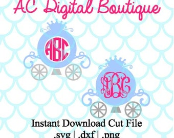 Carriage with Circle Monogram Border Digital Cut File--Instant Download--SVG, DXF, PNG Files for Cutting Machine Software