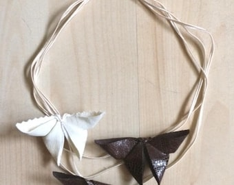 3 strand round neck with origami butterflies
