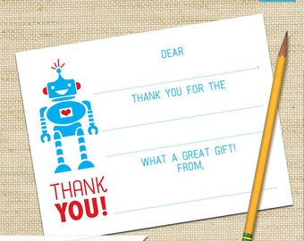 Robot Thank You Cards, Robot Party, Fill In Cards, Birthday Card, Kids Thank You Cards, DIY PRINTABLE, Children's Thank You Card