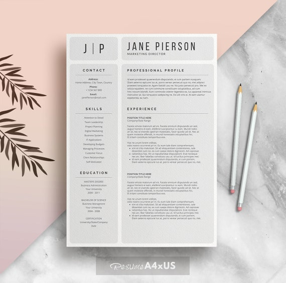 Modern Resume Template for Word 1 2 and 3 Page Resume + Cover Page + Reference Page | A4 + US Letter | Cv Template | INSTANT DOWNLOAD