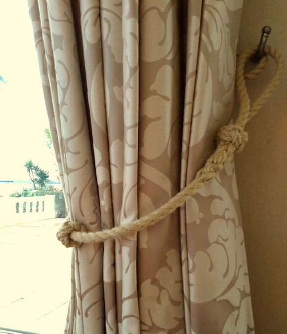 Rope Curtain Tie-Back NauticalHandmade with Spliced Rope and