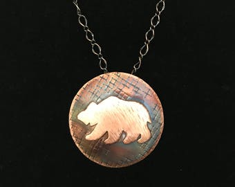 Handcrafted Copper Bear Pendant Necklace