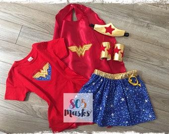 Child Wonder Woman Costume,  Wonder Woman Headband, Wonder Woman Arm Cuffs, Wonder Woman Cape, Wonder Woman Skirt, Halloween Costume