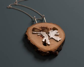 Wooden Necklace, Modern wood Jewelry, Wood And Silver Necklace, Unique Jewelry