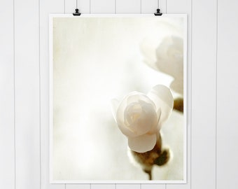 White Magnolia photo, magnolia print, flower photography, neutral art print, modern country farmhouse decor, floral print, white decor