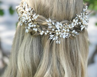 Bridal Hair Vine, Bridal Hair Accessory, Bridal Hair Wreath, Bridal Hair Crown, Gold Bridal Hair Accessory