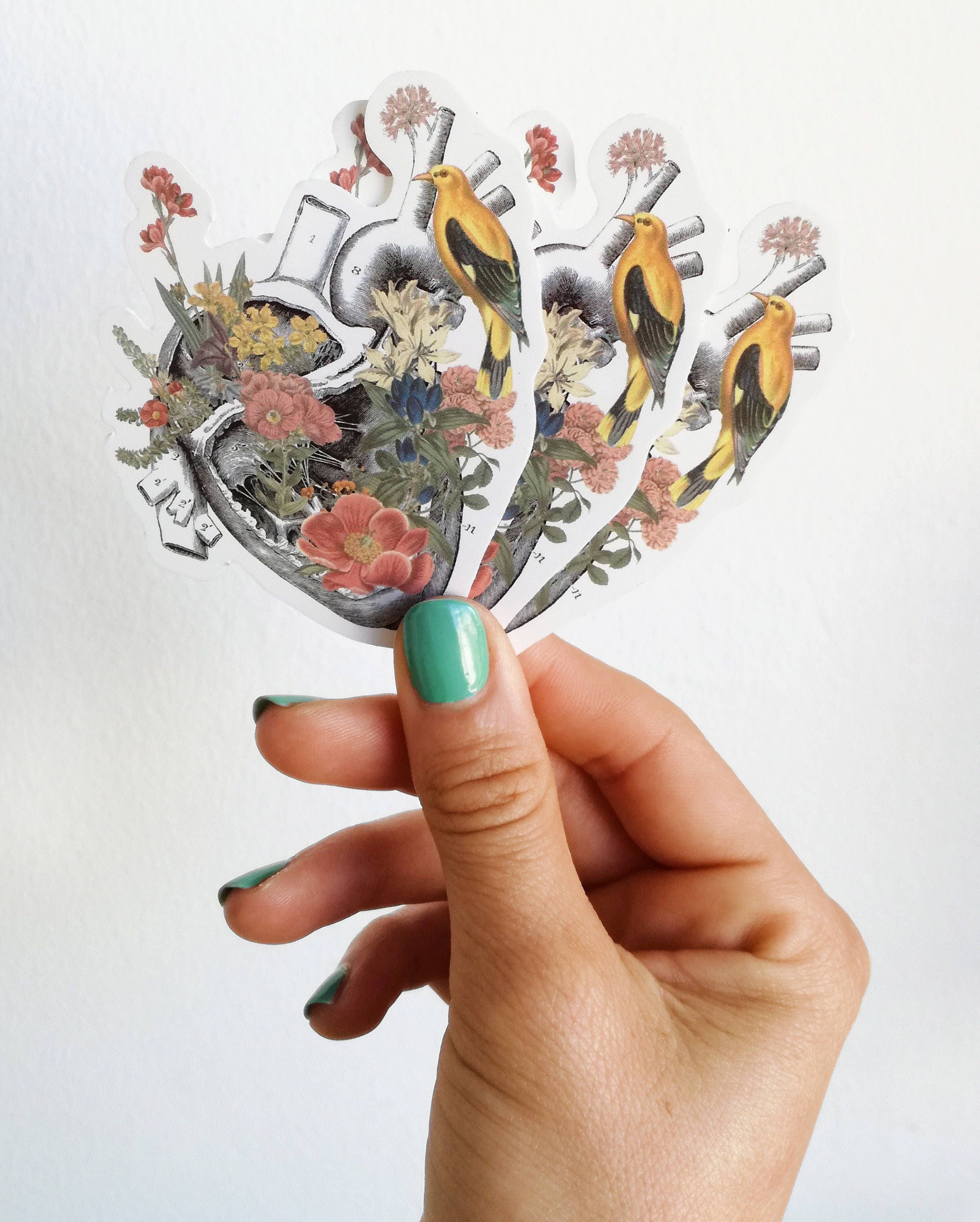 Human Heart with Yellow bird and flowers stickers, laptop tickers ...