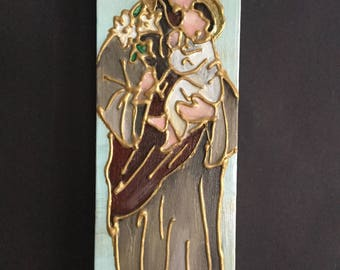 4 x 12 Mixed Media Panting of St. Joseph and Baby Jesus