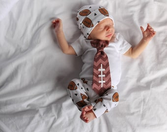 Football Coming Home Outfit Boy.  Newborn boys going home outfit. Football leggings. Newborn football clothes. Hospital Outfit. shower gift.