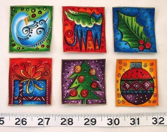 SALE*Set of Six Holiday Appliques*Handmade*Laurel Burch Fabric/46