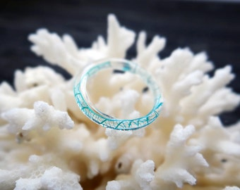 Turquoise ring thin ring skeleton leaves turquoise jewelry pressed flower jewelry stacking ring resin jewelry terrarium jewelry nature ring