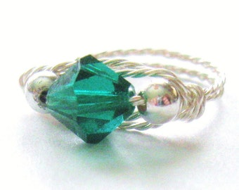 Emerald Birthstone Ring, Novelty Ring, Handmade Wire Wrapped Ring, Made in America,