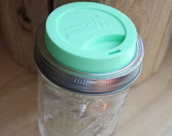 Mason Jar Drinking Lids | Silicone | For Wide Mouth Mason Jars | Mint Green, Light Coral, Gray, or Bright Blue | Hot or Cold Drinks | To Go