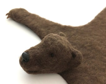 Miniature bear rug - handmade miniature - dollhouse rug