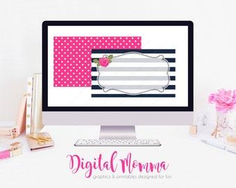 Blank, DIY Floral, Rose, Preppy Business Card, Front & Back, Instant Download!