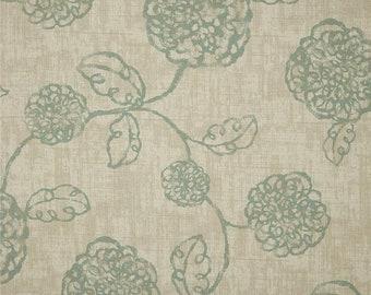 Faux Roman shade, lined valance, Magnolia adele, spa blue, ivory fake Roman shade, pleated valance