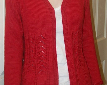 """Knitting Pattern - PLUS SIZE Really Fits Top Down Cardigan For All Seasons - Bust Size 48""""- 56"""""""