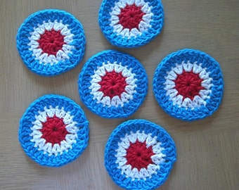 Coaster - Crochet Coaster- Set of 6 Coaster - Great Decoration on Your Table on the 4th of July
