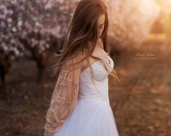 Lace Bridal Shrug, Peach Lace Shawl, Bridal Shrug, Crisscross Top, Loop Scarf. Lace Fashion Accessory, Bridesmaids Shrugs Boleros, Weddings