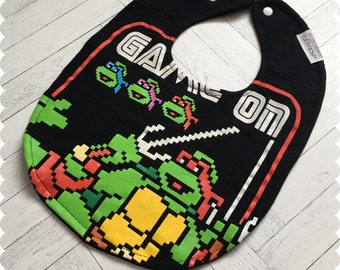 Ninja Turtles Baby Bib, TMNT Recycled T-Shirt Baby Bib, Baby Boy Baby Shower Gift, Nerd Baby, Geek Baby, Video Game Baby