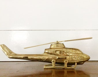 Vintage 1960s Solid Brass Helicopter with Moving Propeller