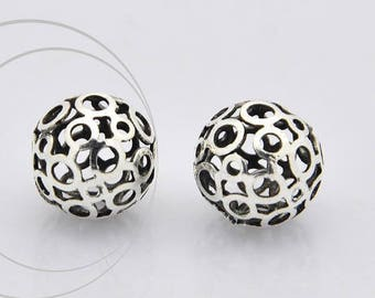 Filigree brass bead, hollow, nickel free, 12 mm diameter, hole 1 mm