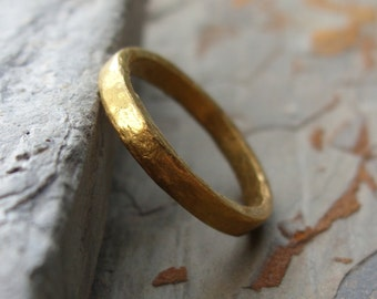 Pure Gold - Primitive Solid 24k Wedding Ring - Artisan Hammered Flat Solid Gold Band