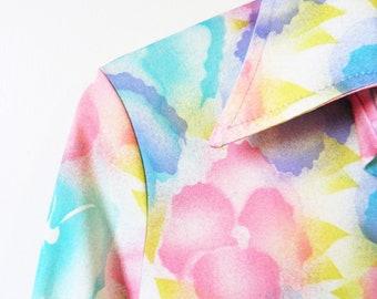 Rainbow Pastel Floral Blouse / 70s Tie Dye Floral Button Down / Retro Pastel Rainbow Blouse