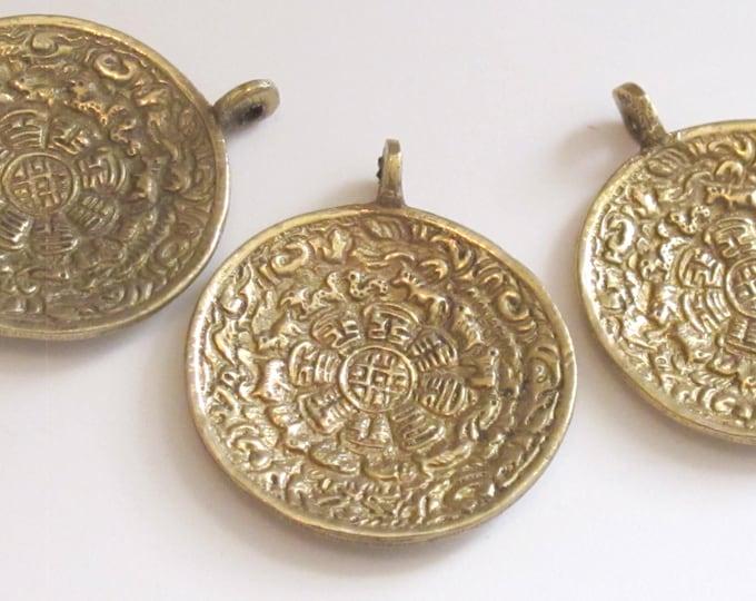 3 PENDANTS - Tibetan Om with calendar  timeline wheel Solid Brass pendant  50 mm height x 43 mm wide - CP051